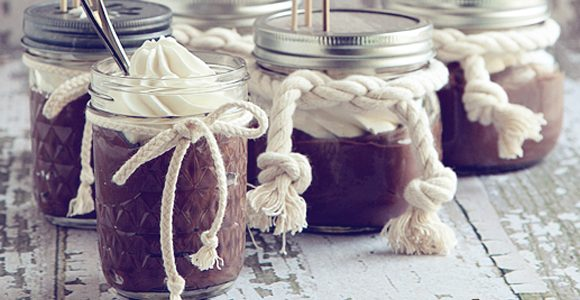 Homemade Chocolate Pudding with Chantilly Cream | Recipe in a Jar