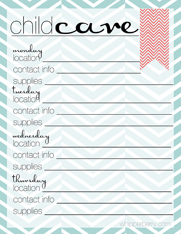 daycare information sheet template - family planner free printable whipperberry