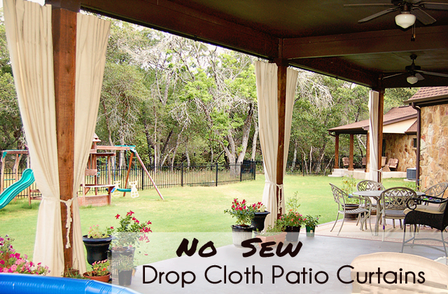 No Sew Drop Cloth Patio Curtains /// Scattered Thoughts of a Crafty ...