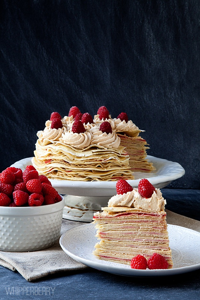 Biscoff and Raspberry Crepe Cake