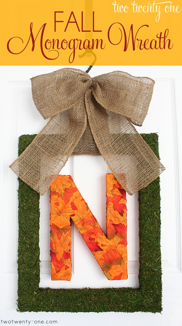 fall monogram wreath diy 1