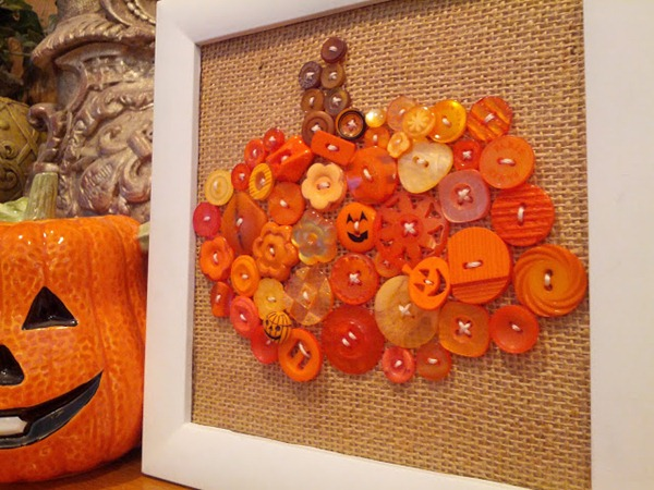 pumpkin buttons in a frame