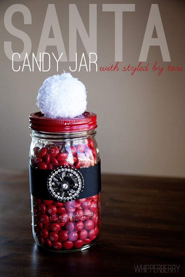 Santa Candy Jar with Styled by Tori from WhipperBerry #toristyle #christmas #giftsinajar