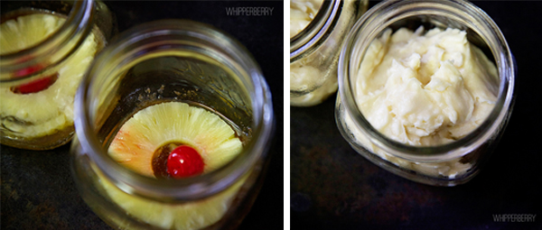 add pineapple, cherry and cake batter to the jars