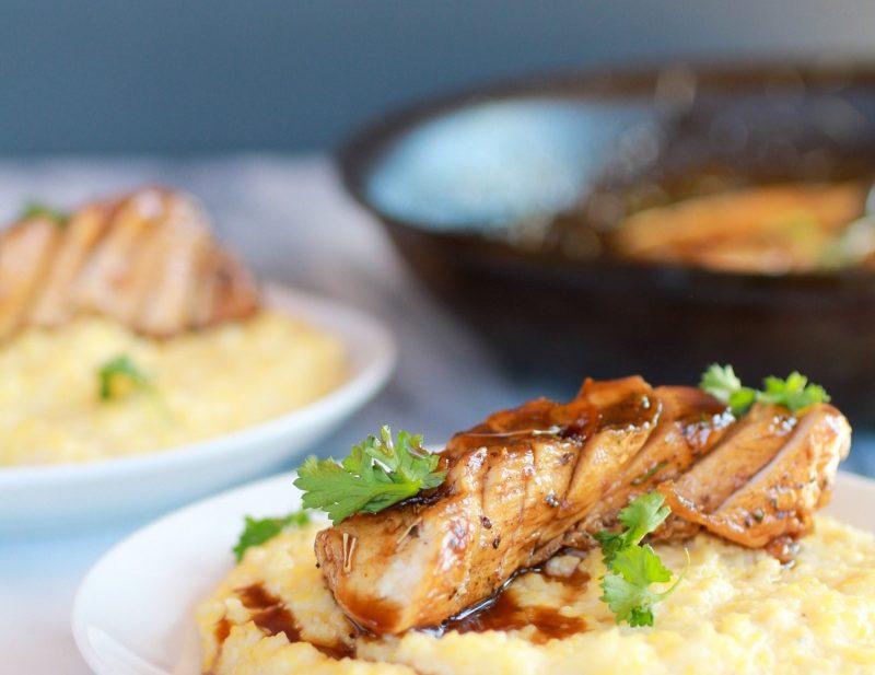 Balsamic-Orange-Glazed-Chicken-with-Creamy-Goat-Cheese-Polenta-4