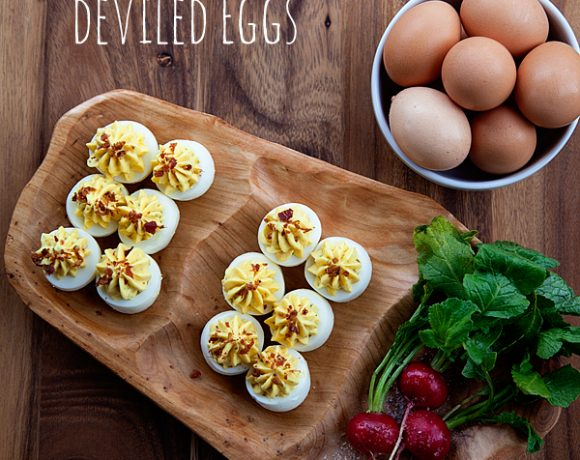 Bacon Ranch Deviled Eggs with Hidden Valley Ranch
