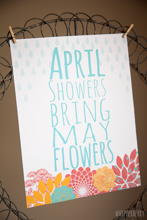 April Showers Bring May Flowers Printable from WhipperBerry