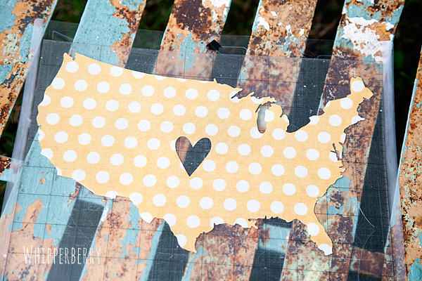 Fabric United States of America cut with Silhouette CAMEO