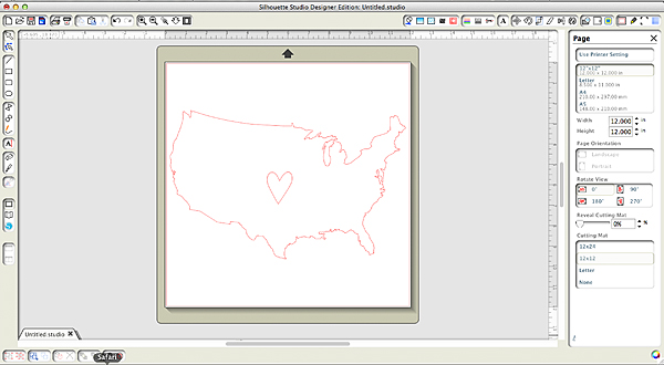 Heartland graphic on the Silhouette Design Software
