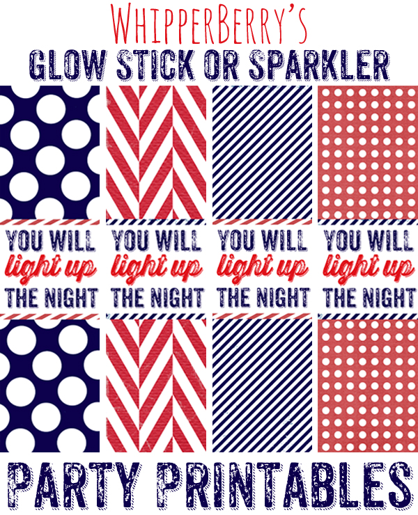 WhipperBerry's Glow Stick or Sparkler Party Printable