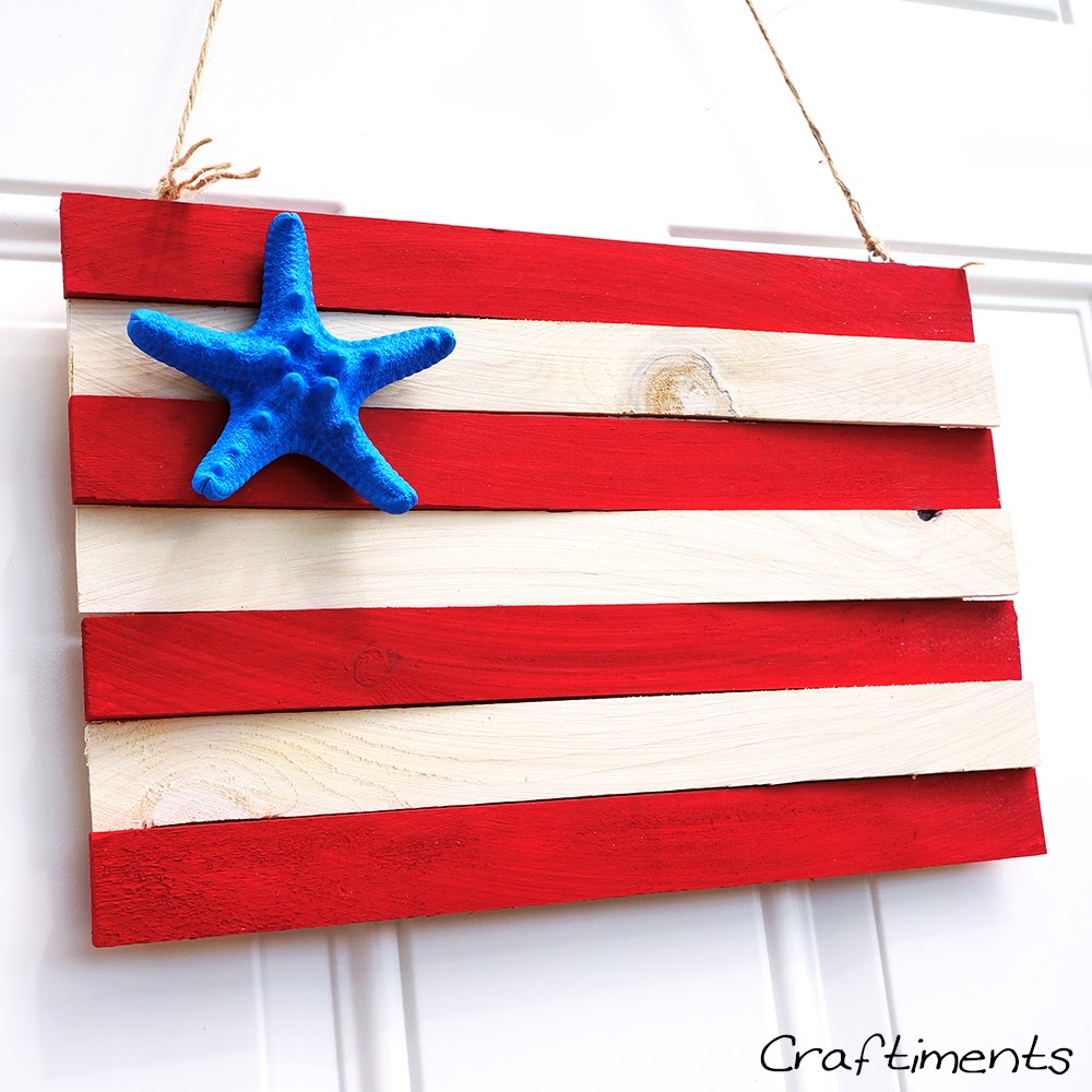 Patriotic wood shim and starfish flag 4