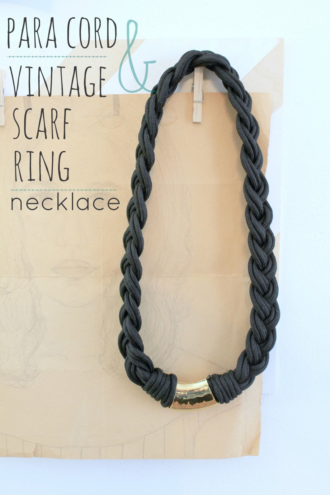 Paracord and Vintage Scarf Ring Necklace
