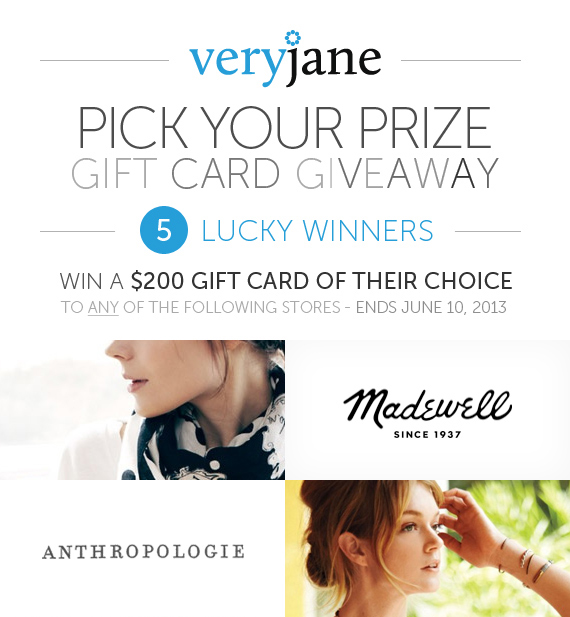 YOU Pick Your Prize $200 Giveaway with Very Jane