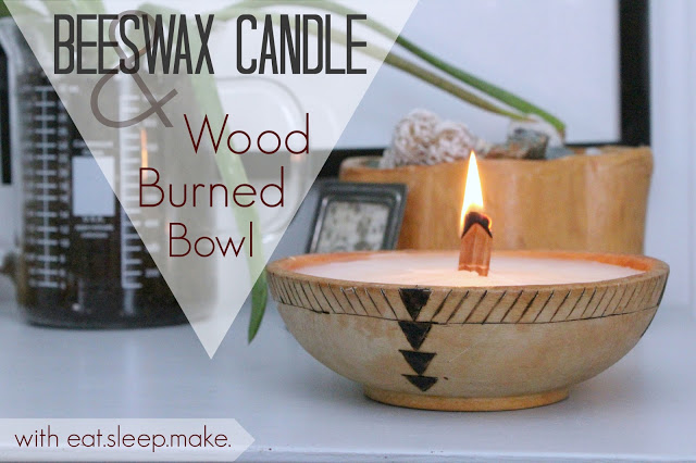 Beeswax Candle and a Wood Burned Bowl