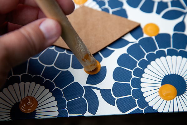 Use the bottom of a large foam brush for your dots