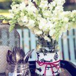 Fabric Wrapped Mason Jar Vases