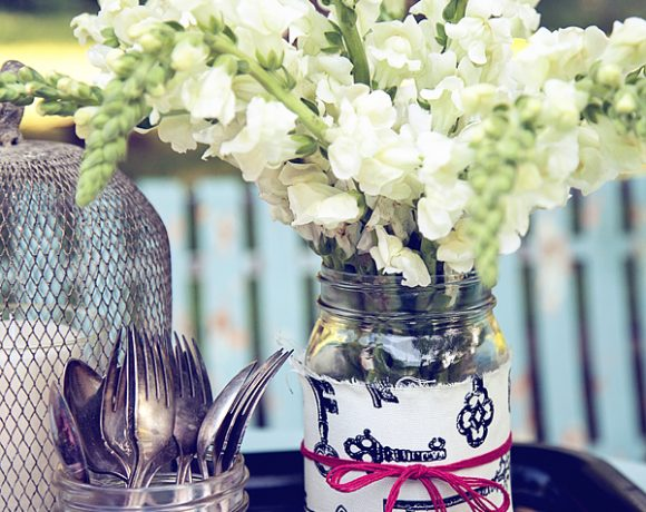 Fabric Wrapped Mason Jar Vases