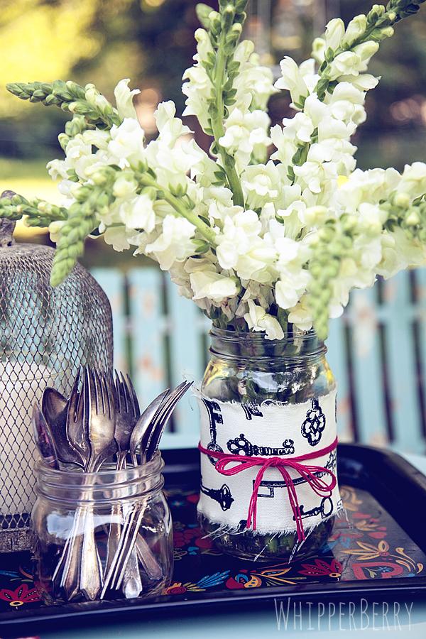 Fabric Wrapped Mason Jar Vases Whipperberry
