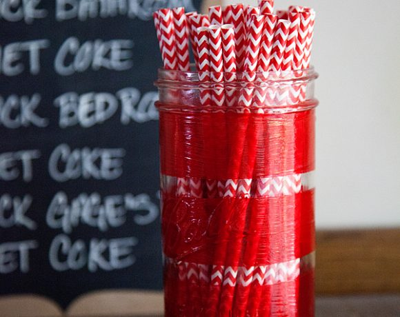 Striped Straw Jar with DecoArt Glass Paint Markers and Diet Coke