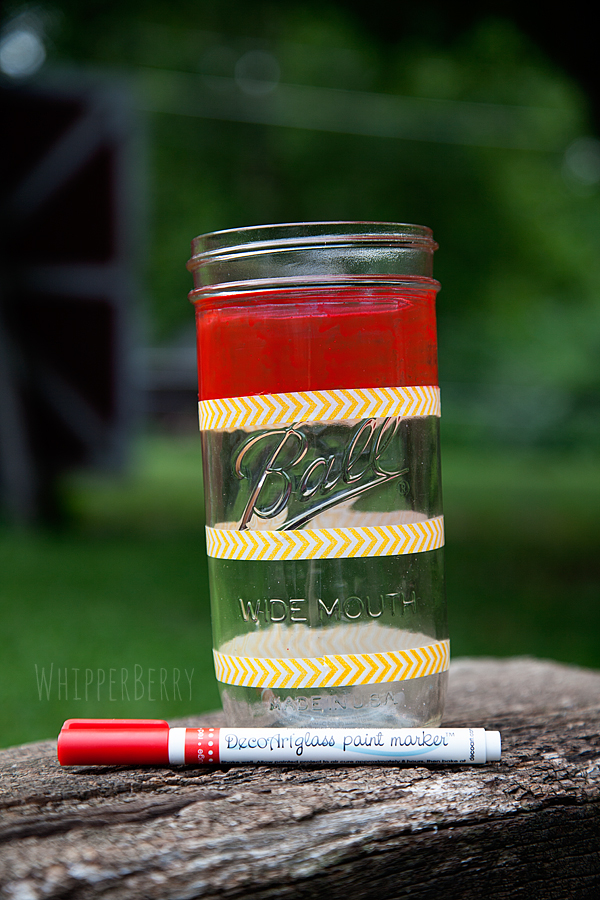 Use tape to create stripes on your mason jar