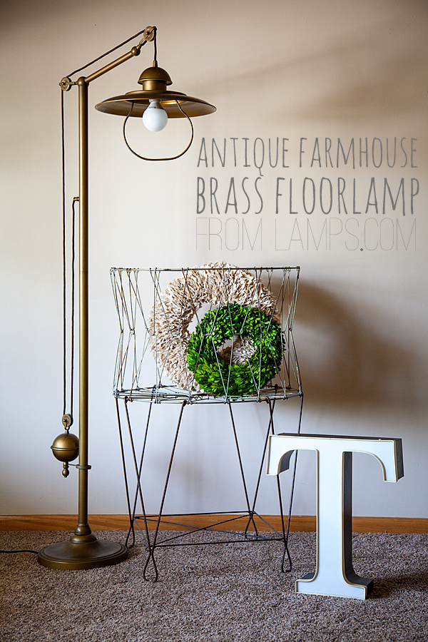 WhipperBerry's Antique Farmhouse Brass Floor Lamp
