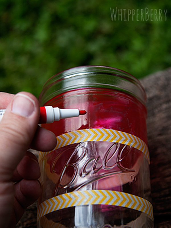 how to paint stripes on a mason jar with DecoArt Glass Paint Markers
