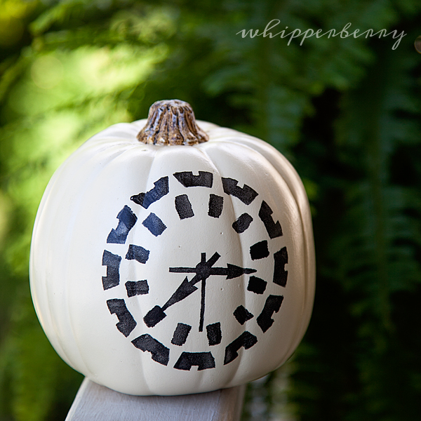 Clock pumpkin with DecoArt Patio Paint and Mixed Media Stencil