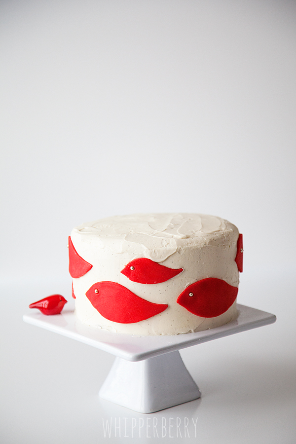 Red Bird Buttercream Cake