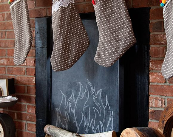 Faux Fireplace // Turn a Cork Board into a Chalkboard
