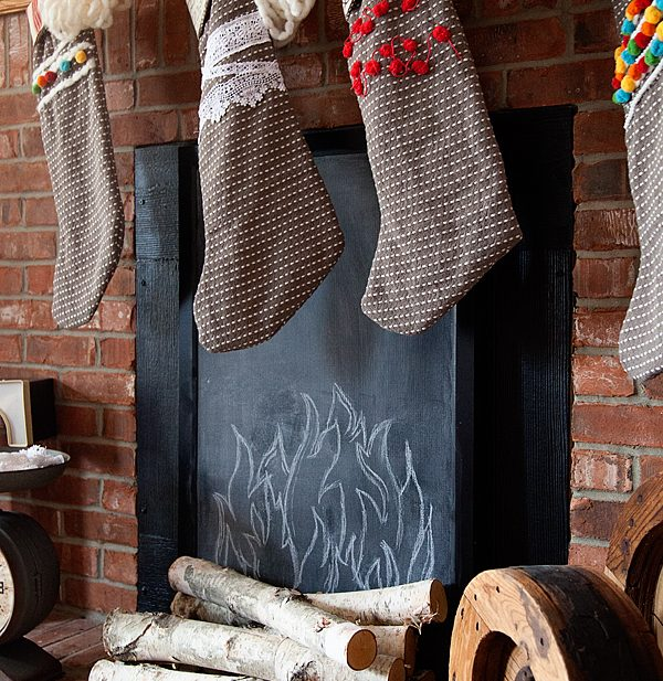 Faux Fireplace with DecoArt Chalkboard Paint by WhipperBerry-2