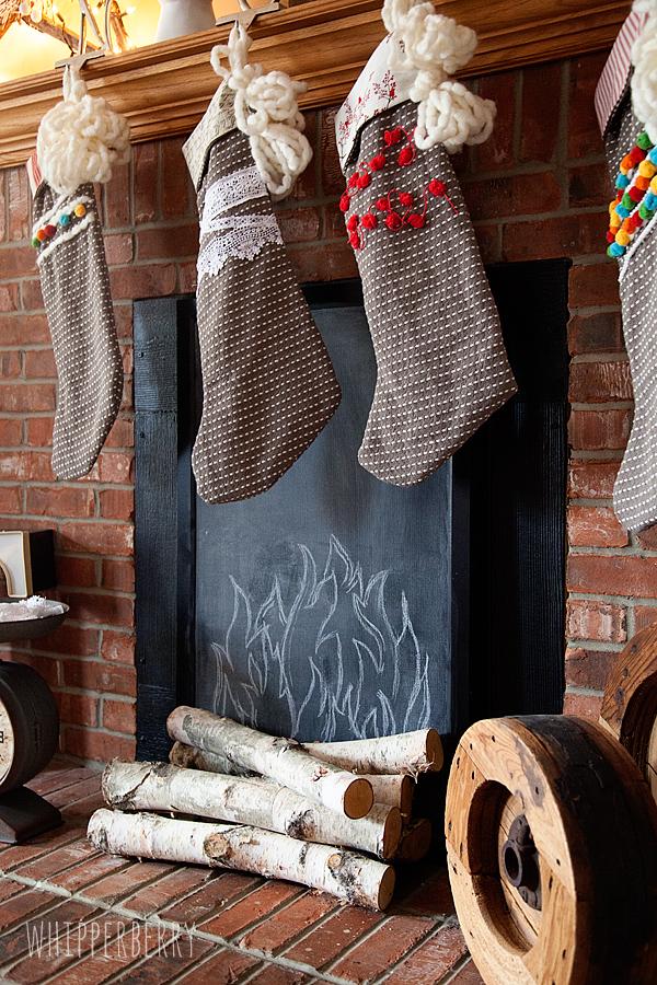 Faux Fireplace // Turn a Cork Board into a Chalkboard
