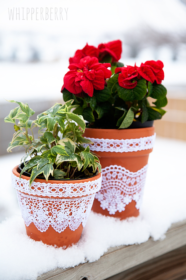 Lace Flower pots with Elmers Craft Bond Fabric Glue by WhipperBerry-8