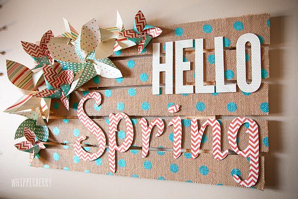 Hello Spring Burlap Sign