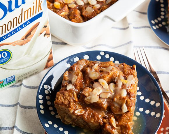 Almond Pumpkin Bread Pudding Topped with Maple Butter Glaze
