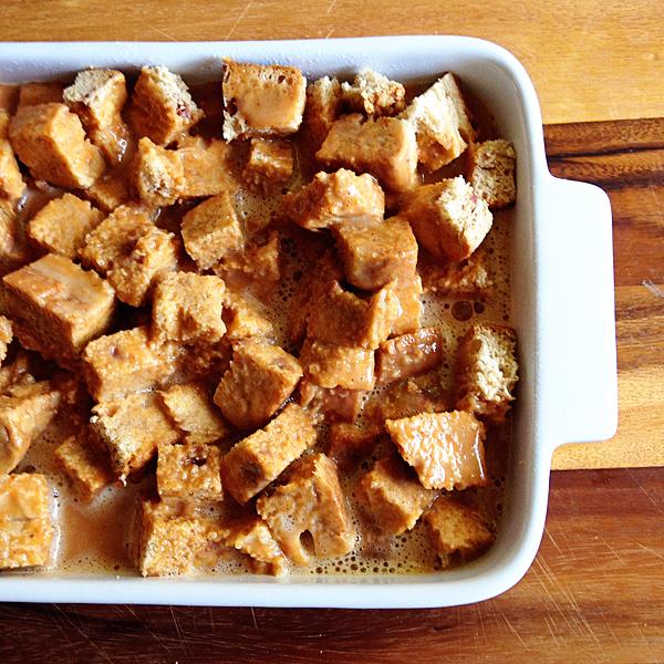 Pour-custard-over-bread
