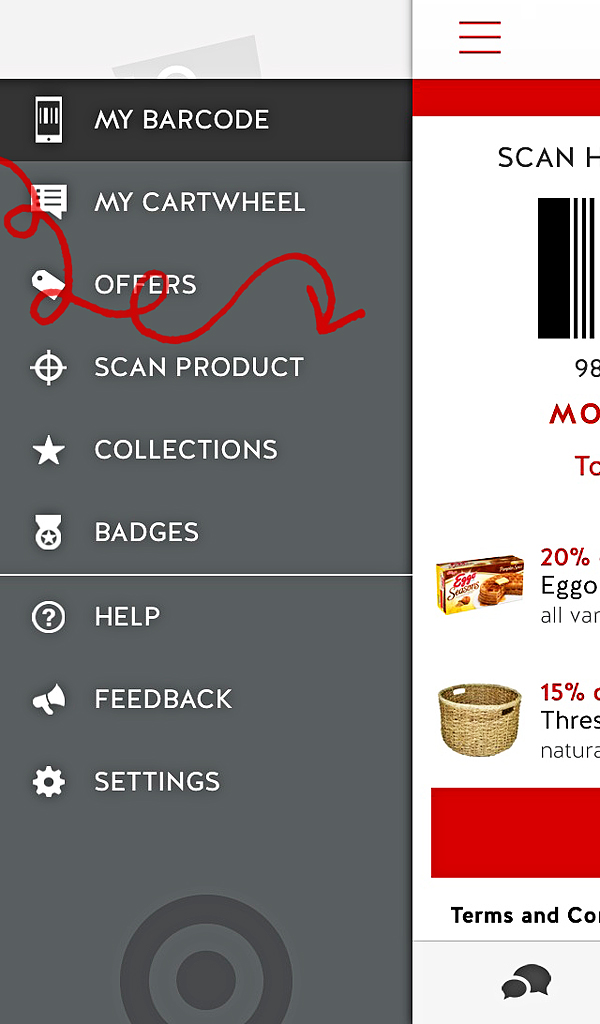 scan products with Target Cartwheel