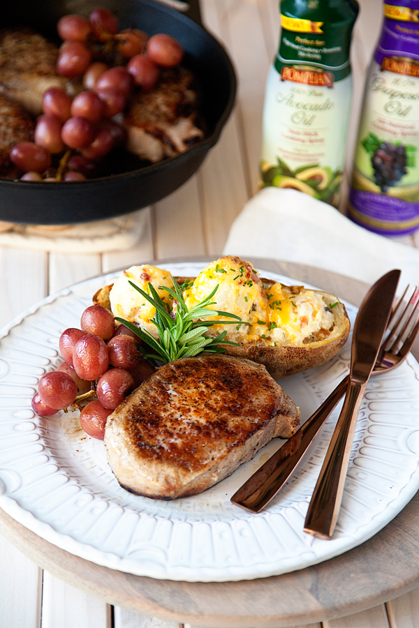 Roasted-Pork-Chop-with-Grapes-and-Twice-Baked-Potatoes-1