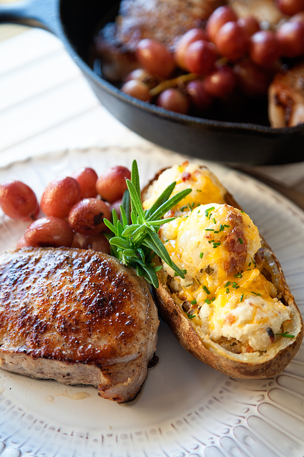 Roasted Grape Pork Chops with Twice Baked Potatoes Recipe