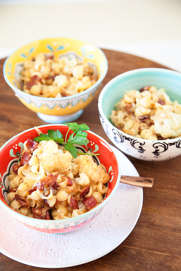 Roasted Cauliflower Bacon Mac and Cheese