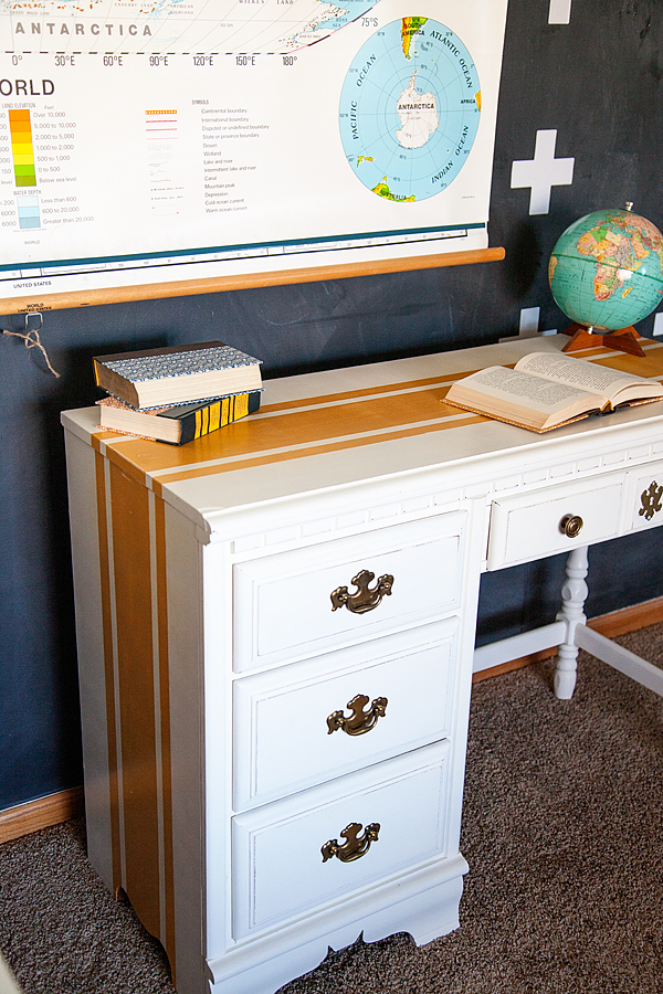 Delightful WhipperBerry Mustard Striped Desk With BB Frösch Chalk