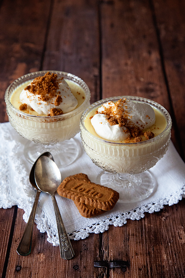 Holiday Nog Panna Cotta Topped with Bischoff Cookie Crumbles