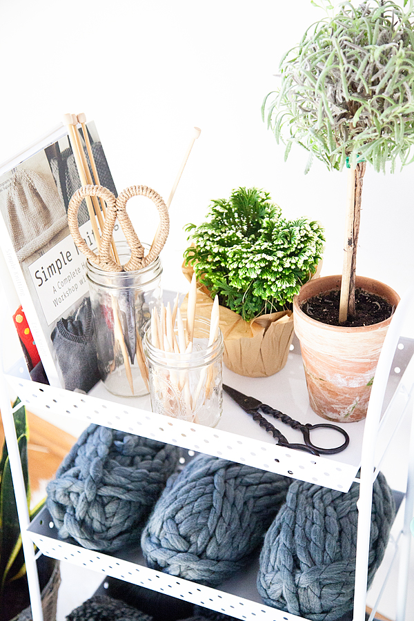 Knitting Station + Craft Room Organization