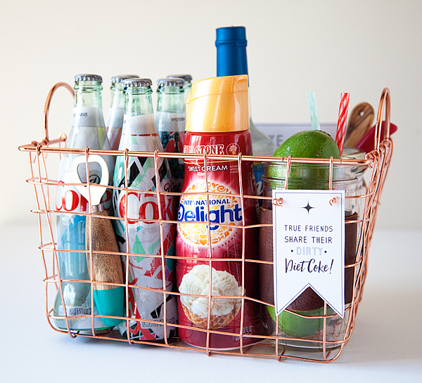Dirty Diet Coke Gift Basket with Free Printable Gift Tag