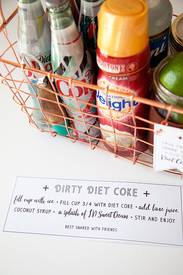 Dirty Diet Coke with free printable gift tag & recipe from Whipperberry