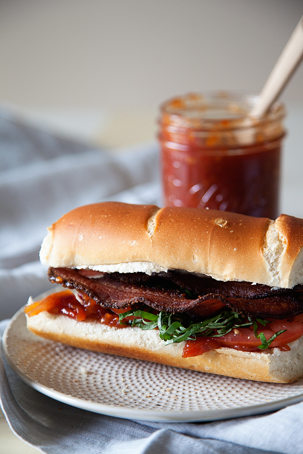 BLT Sandwiches With Candied Bacon, Lettuce, And Tomato Jam Recipe ...