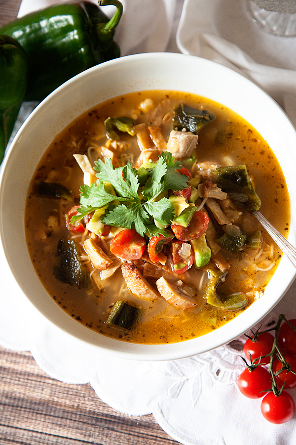 Roasted Poblano Pepper and Chicken Tortilla Soup Recipe from WhipperBerry