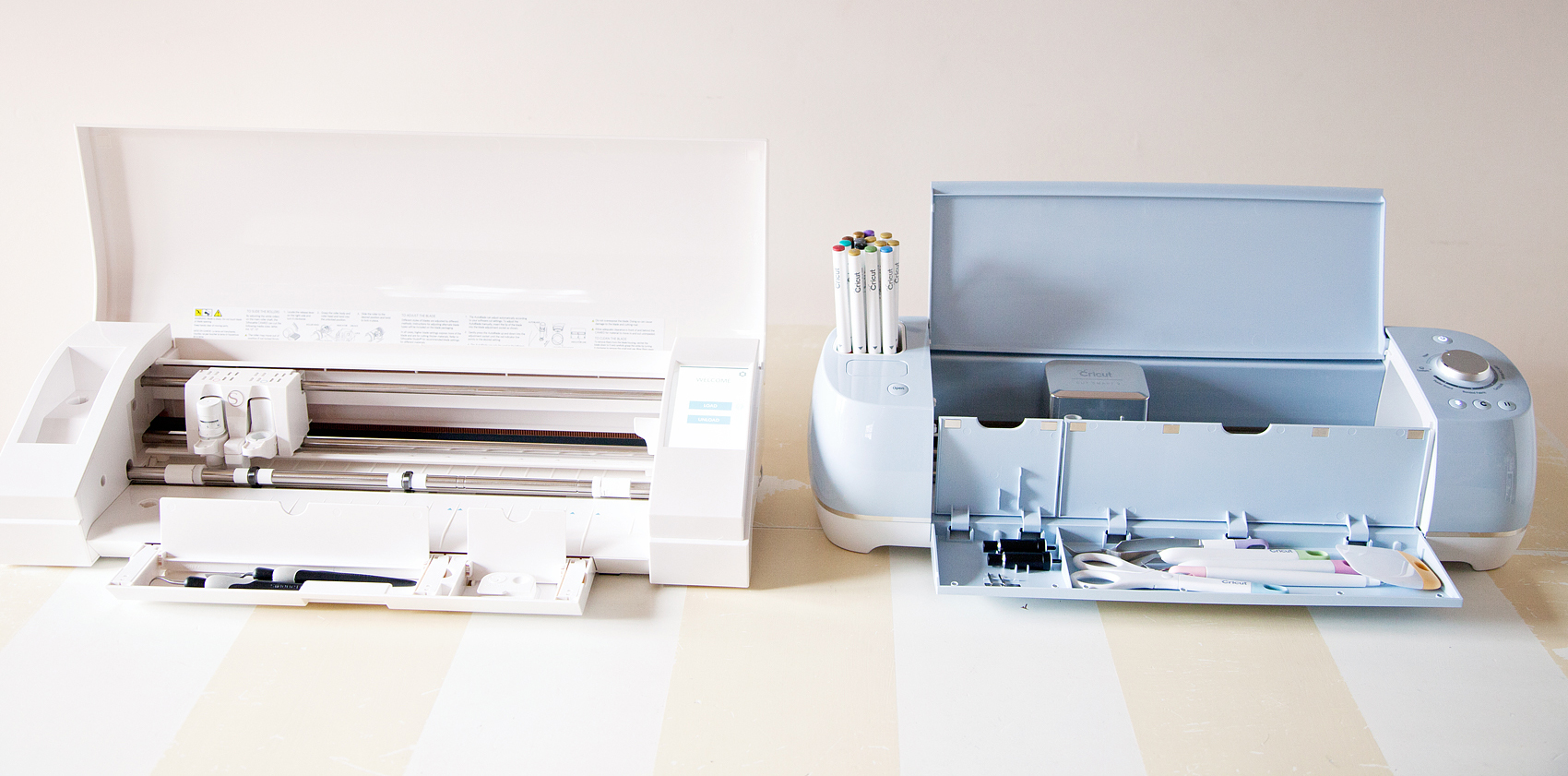 Tool storage in the Cricut and Silhouette