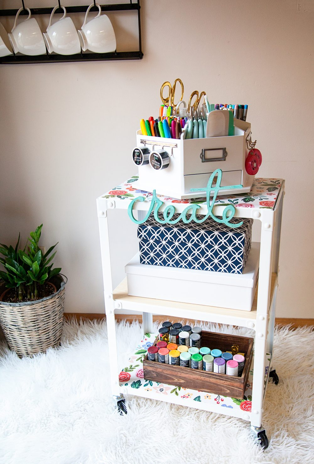 Creative station to inspire the entire family to create. Grab all of your supplies at Michaels Craft Stores and dress it up in a way that will inspire you and your family everyday.