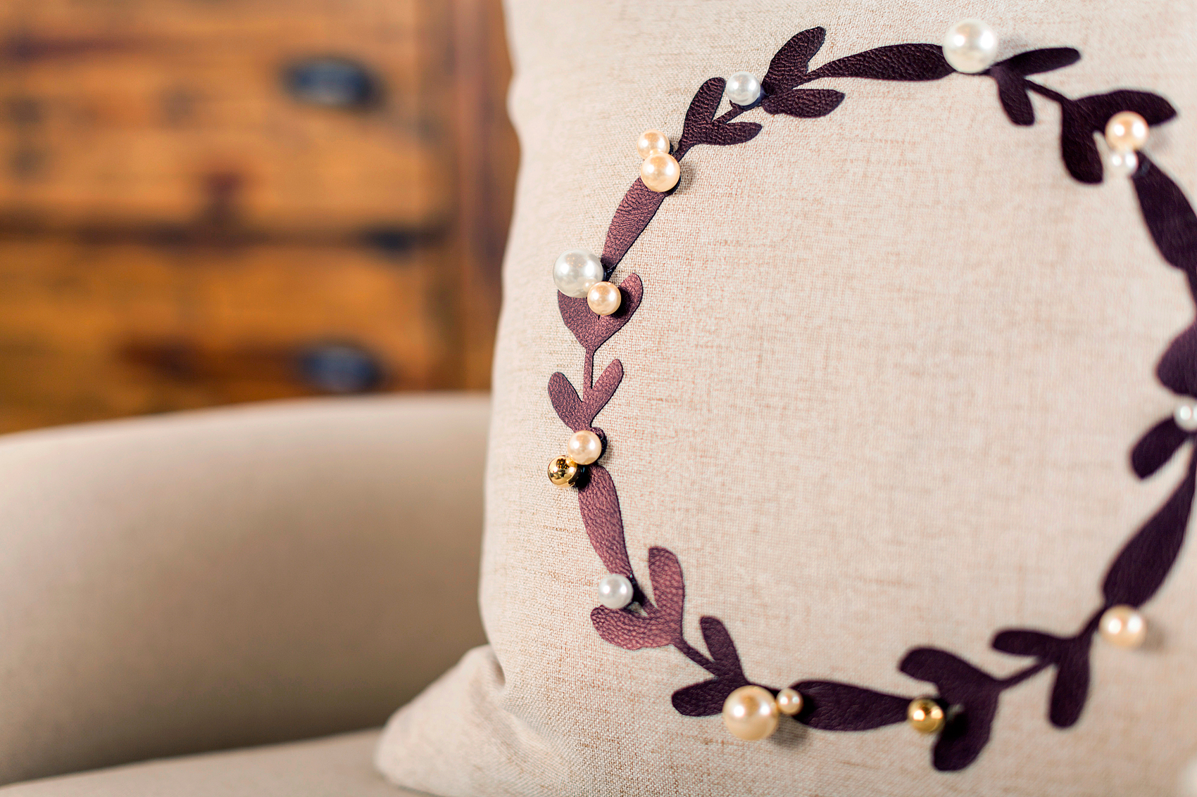 Classic Wreath Pillow created by WhipperBerry using Cricut Faux Leather and the Cricut Explore Air 2