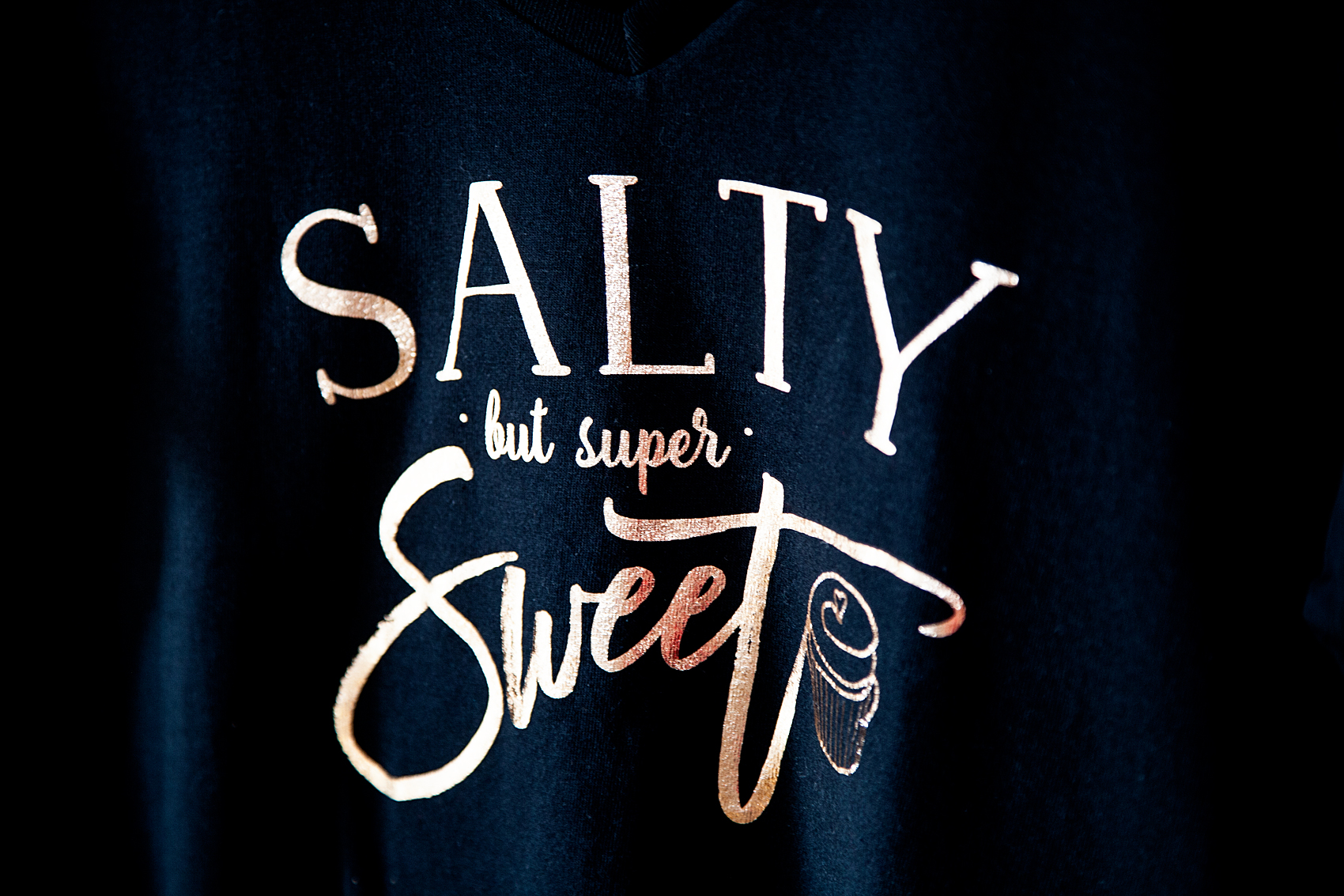 Salty but Still Super Sweet DIY Tee with Cricut Iron-On Rose Gold Foil